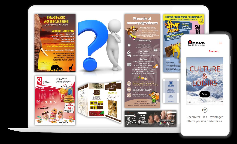 Flier, Dépliant, Adhésif, Carte de visite, Affiches, Signalétique, VItrine, Site Web, E-commerce Vente en ligne